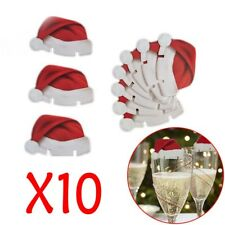 10pcs Christmas Decorations Hats Champagne Glass Decor Sign Flag Paperboard EN