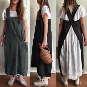Women Sleeveless Cotton Dungaree Oversized Pinafore Dress Cooking Apron Overalls
