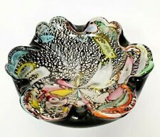 Vintage Colorful MURANO Cased GLASS BOWL Italy Control Bubble Great 5 inch Black