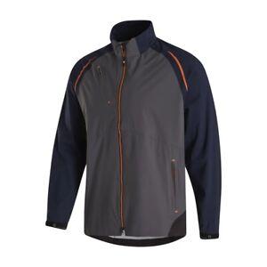 Footjoy Dryjoys Select LS Golf Rain Jacket Large, Charcoal / Navy / Orange 35380