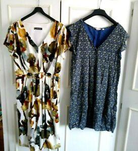 **KALEIDOSCOPE & FAT FACE** cream,gold,green dress & blue floral dress - size 16
