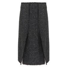 Proenza Schouler Black Grey Tweed Split Skirt US2 UK6