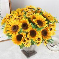 13 Heads Yellow Sunflower Silk Artificial Flowers Bouquet Home Office Decor AU