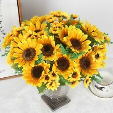 13 Heads Yellow Sunflower Silk Artificial Flowers Bouquet Home Office Decor-