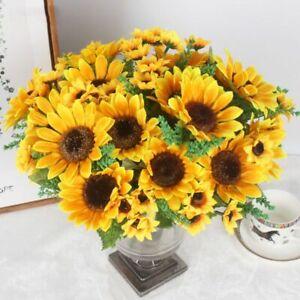 13 Heads Yellow Sunflower Silk Artificial Flowers Bouquet Home Office Decor-