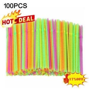Neon New Coloured Flexible Bendy Straws Birthday Party Straw Drinking 100 x J2Z2