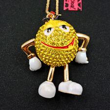 Chocolate Pendant Betsey Johnson Necklace Hot Yellow Rhinestones Mr. Lovely