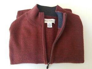 John W. Nordstrom Men's 1/2 Zip  Sweater 100% Extra Fine Merino Wool LG K33