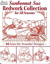 Sunbonnet Sue Redwork Iron-on Transfers Embroidery | Annie's 291030 New!