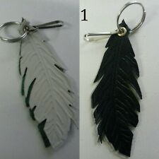 Various Coloured Feather shaped Real Leather/ Bag charm with hook and keyring.