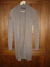 Ralph Lauren, size S; light-brown, cable-knit, linen-alpaca-blend cardigan
