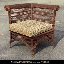 Antique Wakefield Rattan Natural Rolled Arm Victorian Wicker Photographers Chair