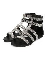 New Women Wild Rose Belak-01 Leatherette Open Toe Gem Gladiator Sandal