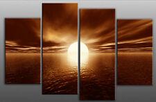 "CANVAS PICTURE BROWN SEASCAPE 4 PANEL SPLIT MULTI 40"""