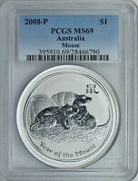 2008 1 oz PCGS MS69 Silver Australian Year of the Mouse Coin Bullion