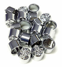 "Chrome Skull Allen Bolt Covers Allen Bolt Toppers Chrome Bolt Caps 1/4"" 10 Pack"