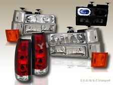 94-98 CHEVY FULL SIZE HEADLIGHTS CLEAR HALO 10 PCS+ ALTEZZA TAIL LIGHTS RED