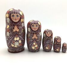 Russian Beauty Nesting Doll set Hand Painted Signed ArtWork