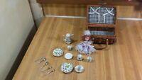Vintage Miniature Basket Porcelain Tea Set,doll,silverware,west germany,vg!
