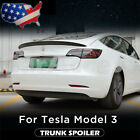 Tail Wing Rear Spoiler Trunk Wings Carbon Fiber Look For Tesla Model 3 2017-2021