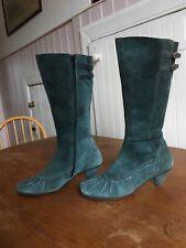 Green Suede Kitten Heel Boots 3.5