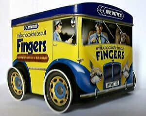 COLLECTABLE * VAN SHAPED TIN * McVITIES CHOC. FINGERS - 11 x 10 x 9 cm - V. GOOD