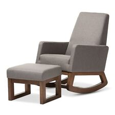 Mid-Century Retro Modern Grey Fabric Upholstered Rocking Chair & Ottoman Set