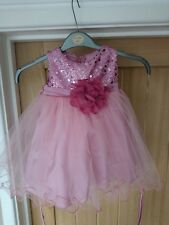 Dusky pink, sequin, satin bridesmaid/special occasion dress age 12-18 months