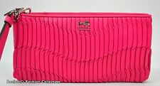 NWT COACH MADISON GATHERED LEATHER ZiP CLUTCH 46914 SV/HOT PINK