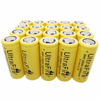1-20pcs 12800mAh 3.7V Rechargeable 26650 Li-ion Battery + USB Charger for Torch