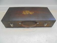 Vintage wooden box,  metal clasps, leather carry handle, crafts storage