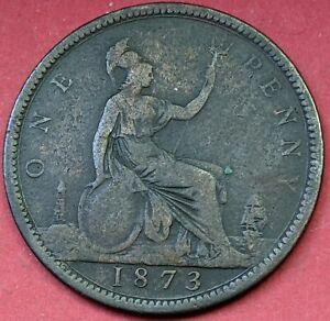 1873 UK Queen Victoria Penny VF Coin