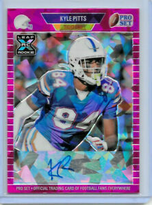 2021 LEAF PRO SET METAL KYLE PITTS PINK CRYSTALS ROOKIE REFRACTOR AUTO 7/25