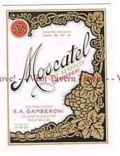 Unused 1940s URUGUAY Montevideo Gamberoni Moscatel Vino Blanco Wine Label