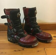 New Rock Red Black Leather Boots - Size 42/43 - Rare Style - Excellent Condition