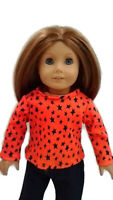 "Orange Black Star T-Shirt fits American Girl Dolls 18"" Doll Clothes Long Sleeve"
