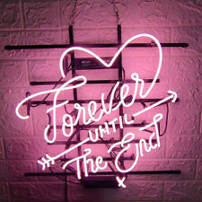 """""""Love Forever Until End"""" Pink Neon Signs UK Bedroom Hanging Decor Neon 19""""X15"""""""