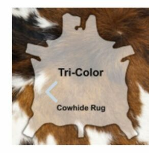 Large Animal Cowhide Leather Rug, Throw, Blanket, Ascent Piece, Tri-Color, USA