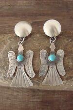Native American Sterling Silver Turquoise Peyote Bird Earrings  -Yazzie