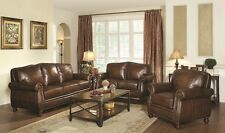 Charmant Traditional 100% Leather 3Pc Sofa Set Sofa Loveseat U0026 Chair Nailhead Living  Room