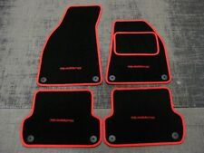 Black/Red Car Mats to fit Audi A4 Cabriolet (B6+B7 2001-08) + Quattro Logos (x4)