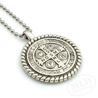 """Knot Border Saint St Benedict Medal Pendant Necklace 24"""" Ball Chain Silver Tone"""
