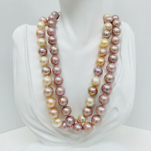 """Freshwater Pearl Necklace Near-Rounds 11-14mm Multi-color or Lavender 18"""" Silver"""