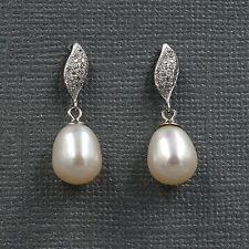 White Pearl Freshwater CZ 925 Sterling Silver Drop Dangle Earrings 08227 New
