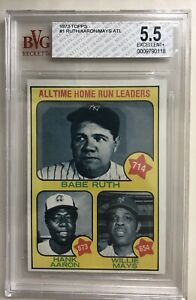 1973 Topps #1 All Time Home Run Leaders Babe Ruth Hank Aaron Willie Mays BVG 5.5