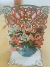 Victorian 3D pop up Germany Mini Small Valentine Poem Flower bouquet Stand up