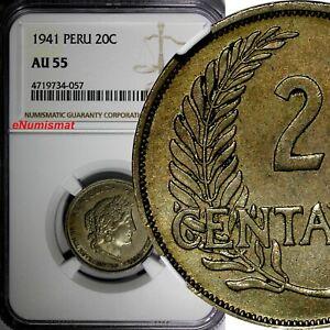 Peru Copper-Nickel 1941 20 Centavos NGC AU55 BETTER DATE KM# 215.2 (057)