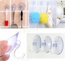 10x Clear Strong Window Wall Hooks Hanger Kitchen Bathroom Suction Cup Suckers