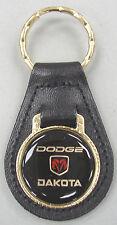 Vintage Black Dodge DAKOTA Ram Black Leather Goldtone Keyring Key Fob