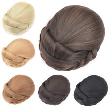Lady Women Braided Bun Updo Cover Ponytail Synthetic Hair Clip in Hair Extension
